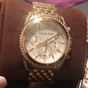 Michael Kors crystal dial gold watch